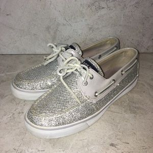 Sperry Silver Glitter Boat Shoes Size 8.5